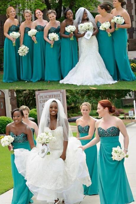 A-Line Sweetheart Long Turquoise Bridesmaid Dress with Beading