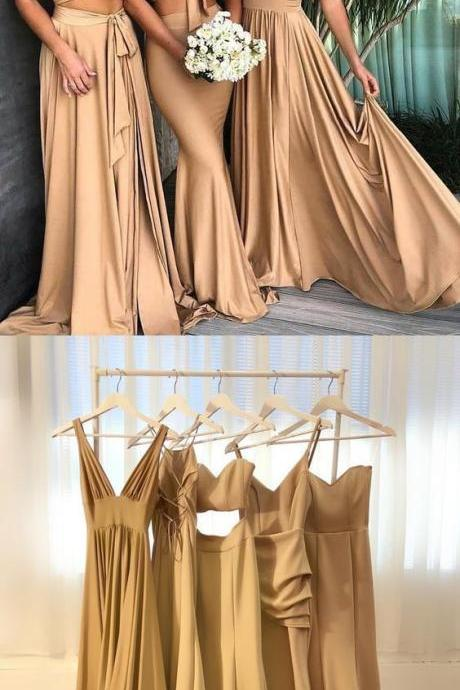 Two Piece Halter Backless Long Champagne Bridesmaid Dress