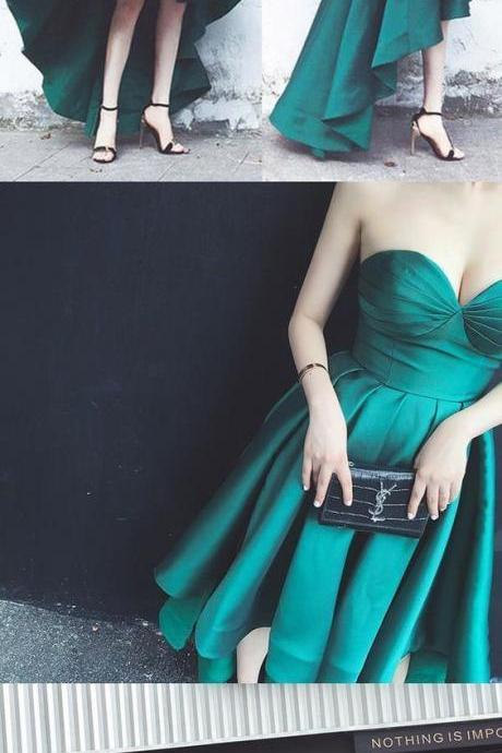 Simple Hi-Lo Emerald Green Strapless Prom Party Dress,Emerald Green Evening Gowns,Prom Dress