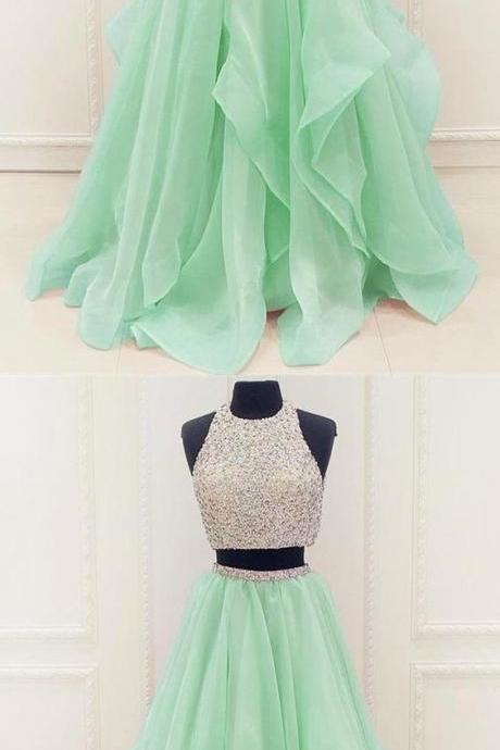 Two piece prom dress, mint green tulle long prom dress, round neck beading prom dress