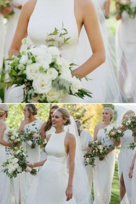 Elegant White Bridal Dress,Simple Prom Dress,Custom Made Evening Dress
