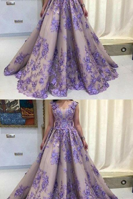 A-Line, Scoop Sleeveless, Lavender Tulle Prom Dress with Appliques, Long Formal Dresses.2019 new fashion,custom made