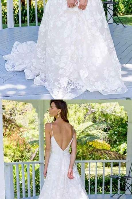 A-Line Spaghetti Straps Backless Long Lace Wedding Dress