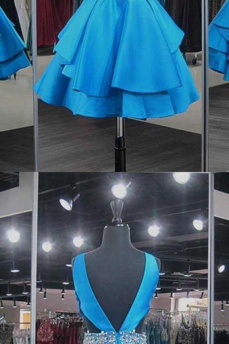 Satin Blue V-Neck Short Homecoming Dresses with Beadings