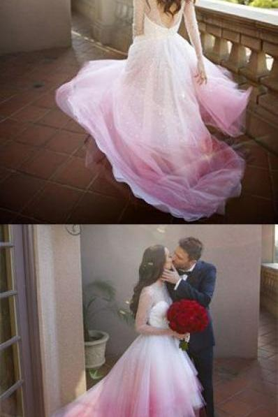 A-line Colorful Pink and White Long Sleeves Sheer Long Wedding Dress,Ombre Bridal Gown