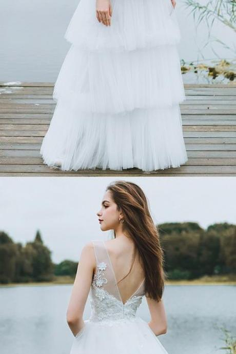 Unique Tiered Tulle Low Back Boho Wedding Dress Beach Weddings Long Dress