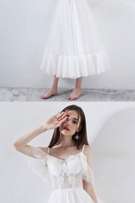 White tea Length tulle prom dress, white evening dress