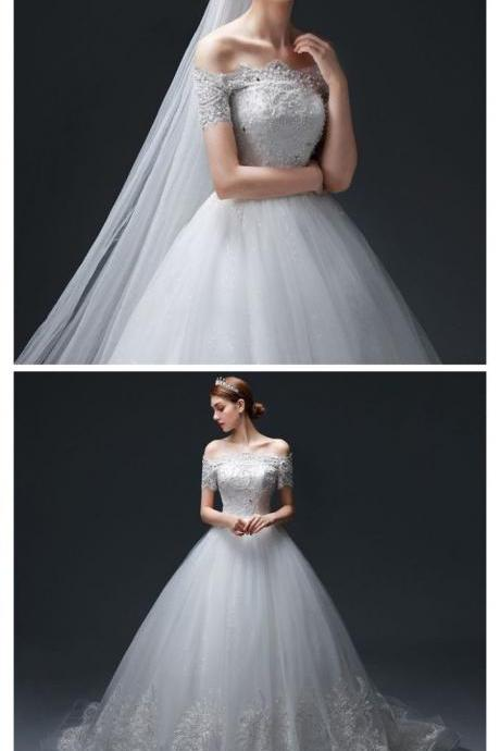 CHIC A-LINE OFF SHOULDER WHITE TULLE MODEST CHEAP LACE WEDDING DRESSES