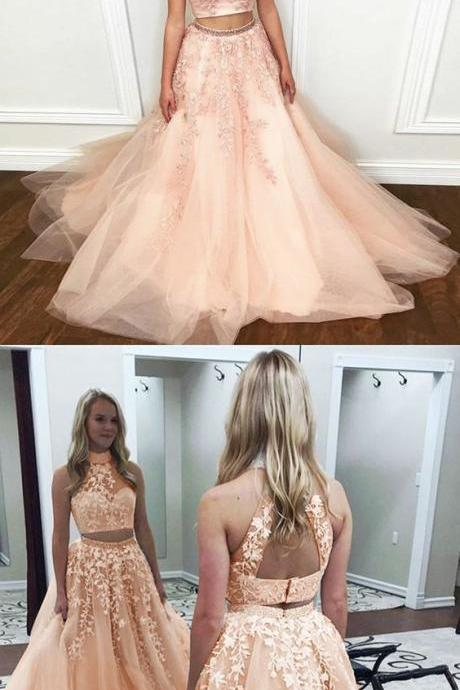 Two Piece High Neck Open Back Long Coral Prom Dress with Appliques