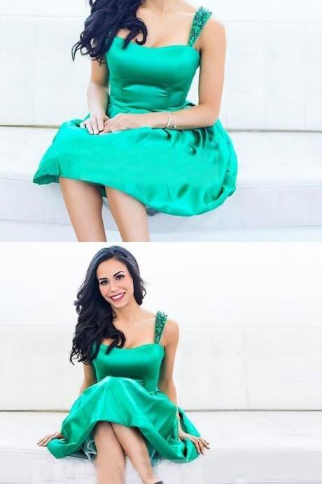 A-Line Emerald Short Homecoming Dress with Beading