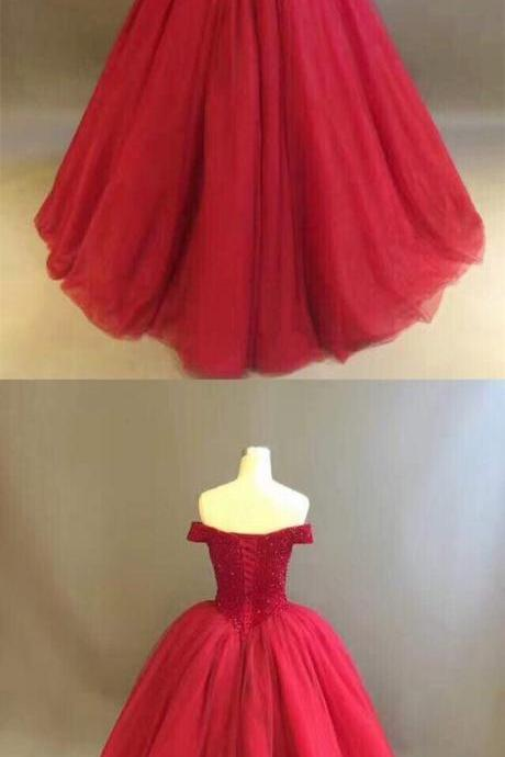Wine Red Off the Shoulder Ball Gown Prom Dress