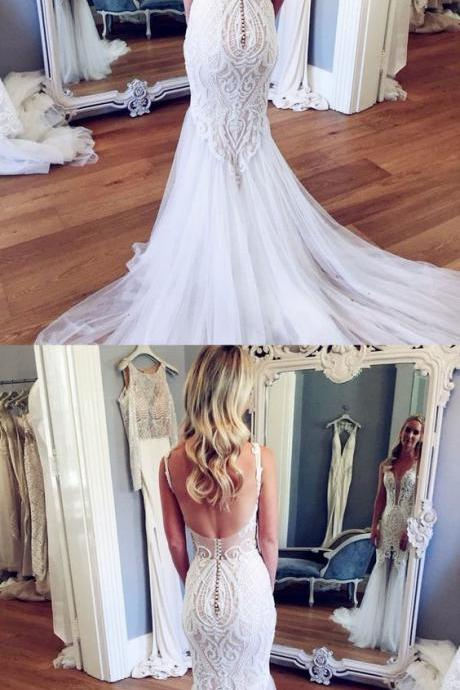 Mermaid V-Neck Court Train Backless Wedding Dress with Lace
