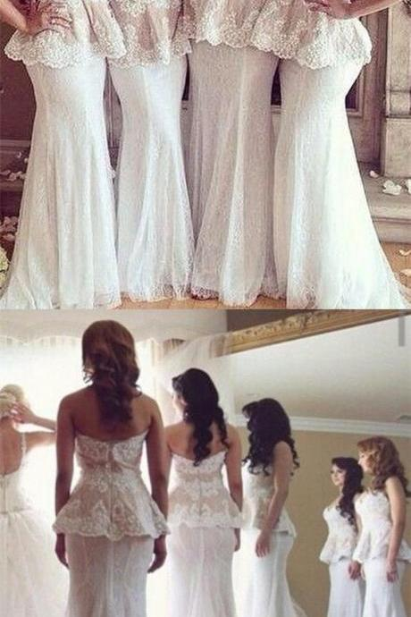 Mermaid Sweetheart Sweep Train White Bridesmaid Prom Dress with Lace