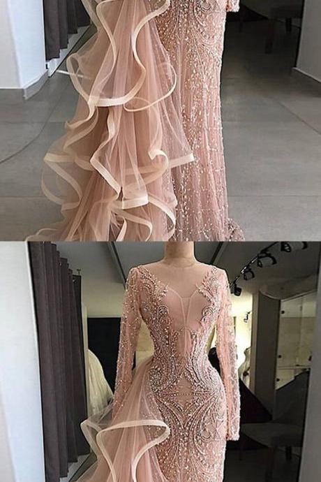Chic Pink Prom Dress Sheath Long Sleeve Prom Dress