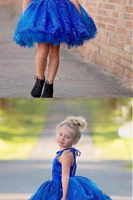 Lovely Royal_blue Tulle Lace Flower Girl Dresses With Beading ,Cheap Flower Girl Dresses