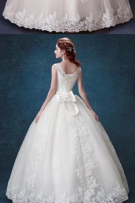 Ball Gown Wedding Dresses Scoop Lace-up Appliques Bowknot Big Bridal Gown
