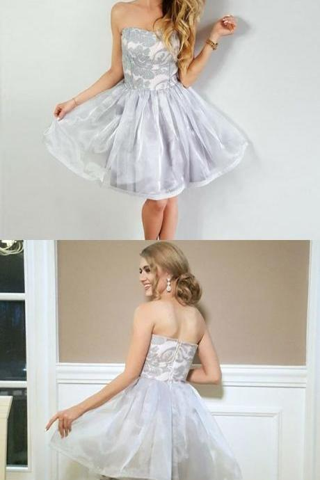A-Line Strapless Grey Organza Short Homecoming Dress with Lace