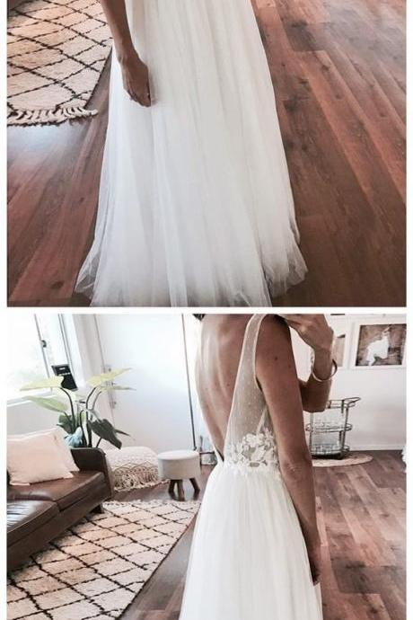 Cheap Ivory Tulle Beach Wedding Dresses Lace Applique See Through Wedding Dress